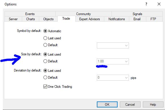 Volume default MT5